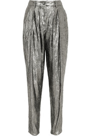 Silk-blend lamé tapered pants
