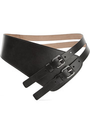 Asymmetric leather waist belt