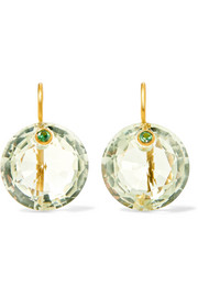 18-karat gold, quartz and aquamarine earrings