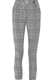 Studded checked woven leggings