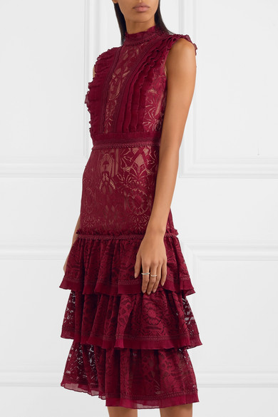 0c08d9c3e98 Tower ruffled corded lace dress