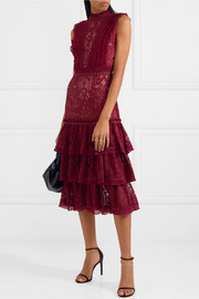 Tower ruffled corded lace dress