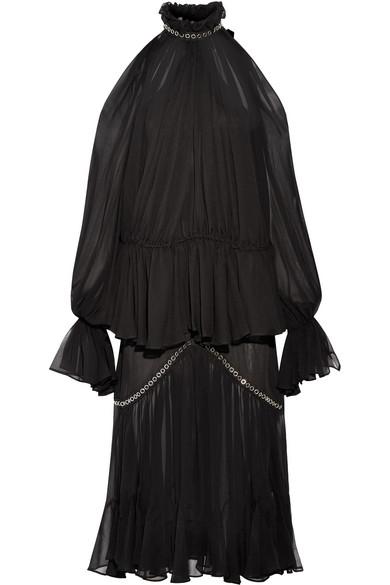Jonathan Simkhai - Eyelet-embellished Ruffled Silk-chiffon Midi Dress - Black