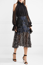 Metallic tulle-trimmed lace skirt