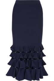 Cutout ruffled knitted midi skirt