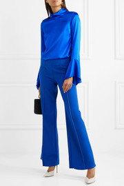 Rufus fluted stretch-silk satin top