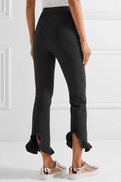 Pantalon Slim-jambe Extensible À Volants Cady - Ouverture Noir 5I8rnyH