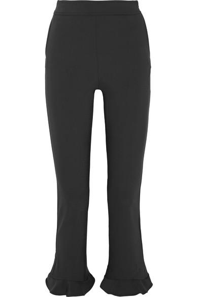 Ruffled Stretch-cady Slim-leg Pants - Black Opening Ceremony qhvtTSaYP