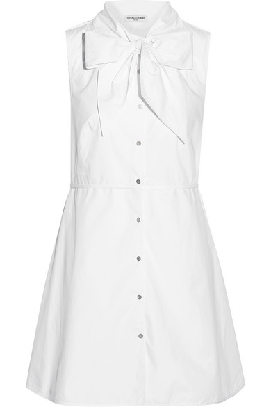 Opening Ceremony - Pussy-bow Cotton-poplin Shirt Dress - White