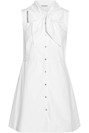 Pussy-bow cotton-poplin shirt dress