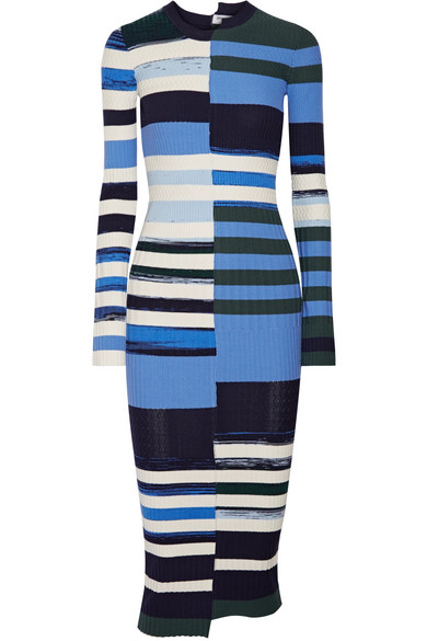 Opening Ceremony - Striped Stretch-knit Midi Dress - Blue