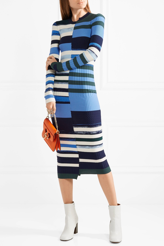 Opening Ceremony Striped stretch-knit midi dress