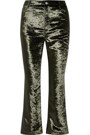 Cropped velvet flared pants