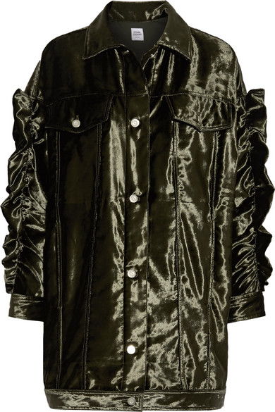 Opening Ceremony - Ruffle-trimmed Velvet Jacket - Army green
