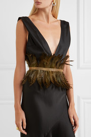 Rosantica Selva gold-tone feather waist belt