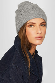 Cable-knit wool and cashmere-blend beanie