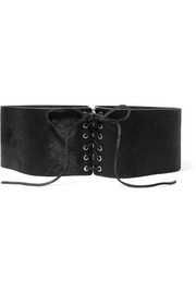 Lace-up calf hair belt