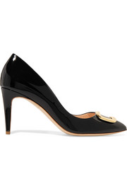Nada O Pebble embellished patent-leather pumps