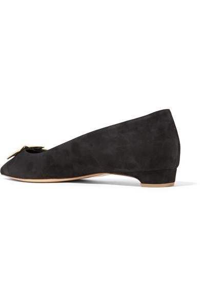 Rabatt-Spielraum Rupert Sanderson Ablaze flache Schuhe aus Veloursleder mit spitzer Kappe und einer Applikation aus Metallic-Leder Online Kaufen Authentisch xKDAEa