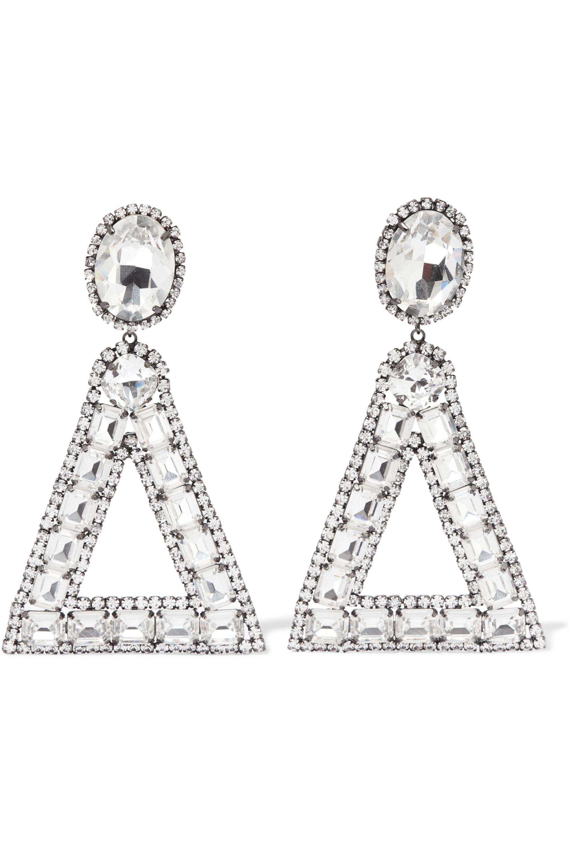 Kenneth Jay Lane Gunmetal-plated crystal clip earrings