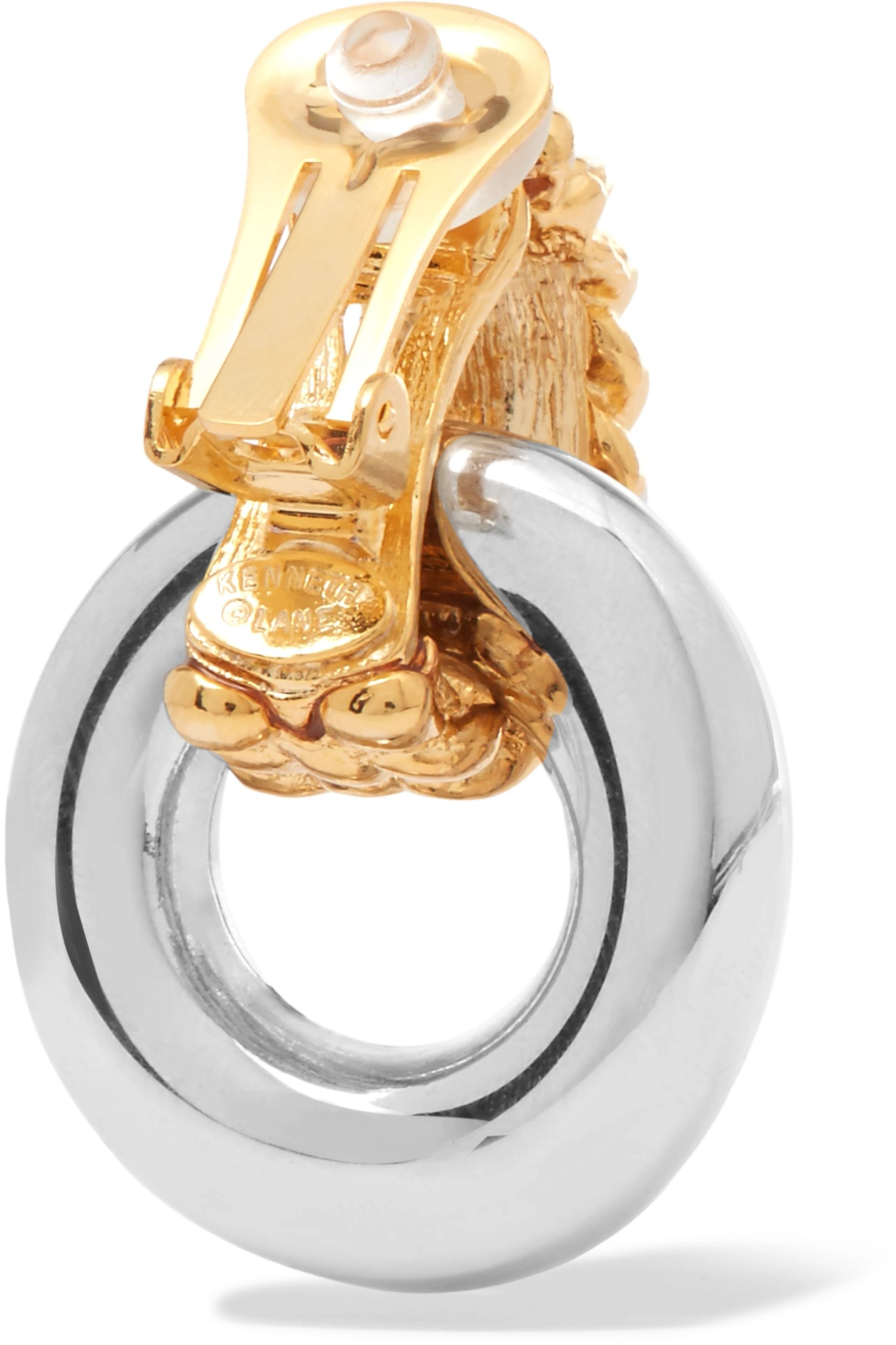 Kenneth Jay Lane Gold and rhodium-plated clip earrings