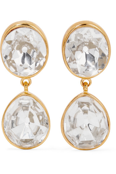 Kenneth Jay Lane - Gold-plated Crystal Clip Earrings