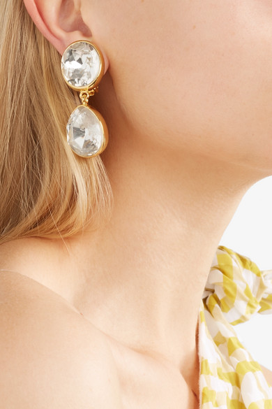 Kenneth Jay Lane Gold Plated Crystal Clip Earrings