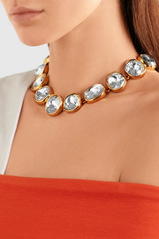 Kenneth Jay Lane Gold-plated crystal necklace