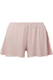 Skin Jessie lace-trimmed jersey pajama shorts