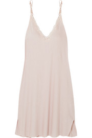 Skin Leavers lace-trimmed jersey chemise