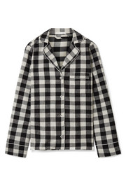 Skin Lucienne checked cotton-flannel pajama shirt