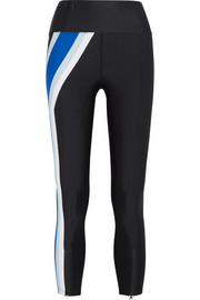 Set Position striped stretch-jersey leggings