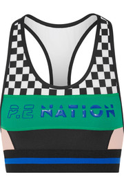 Ball Rolling printed stretch-jersey sports bra