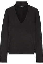 Cutout silk-blend turtleneck sweater