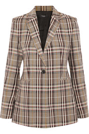Power plaid wool-canvas blazer