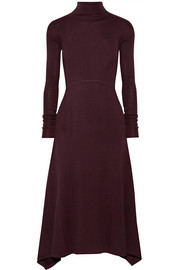 Asymmetric ribbed stretch-wool midi dress