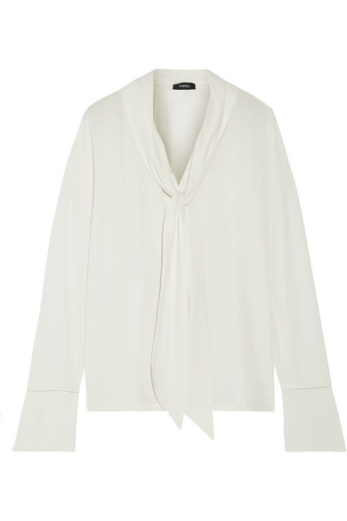 Theory - Pussy-bow Silk Crepe De Chine Blouse - White