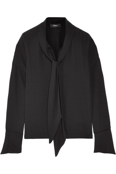 Theory - Pussy-bow Silk Crepe De Chine Blouse - Black