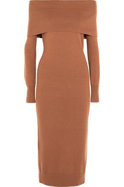 Over-the-shoulder merino wool midi dress