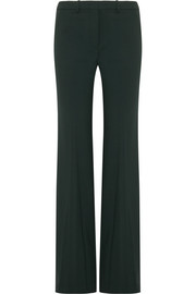Wool-blend crepe flared pants