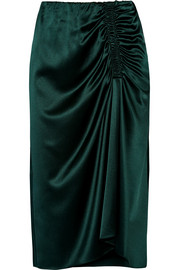 Ruched silk-blend satin midi skirt