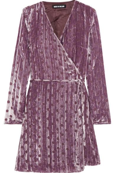 House of Holland - Polka-dot Crushed Devoré-velvet Wrap Mini Dress - Lilac