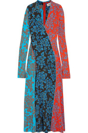 Paneled printed silk maxi dress