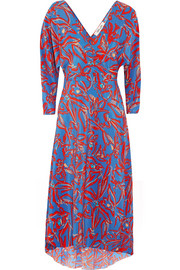 Asymmetric printed silk crepe de chine midi wrap dress