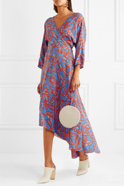 Diane von Furstenberg Asymmetric printed silk crepe de chine midi wrap dress