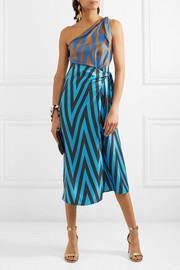 Diane von Furstenberg One-shoulder printed silk-twill midi dress