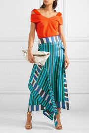 Diane von Furstenberg Striped silk crepe de chine midi skirt