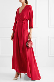 Diane von Furstenberg Wrap-effect washed-silk gown
