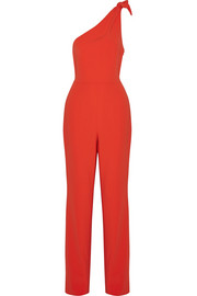 Knotted one-shoulder crepe jumpsuit