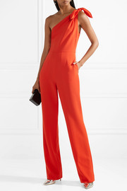 Diane von Furstenberg Knotted one-shoulder crepe jumpsuit